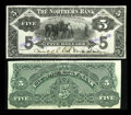Canadian Currency: , Winnipeg, MB- The Northern Bank $5 Nov. 1, 1905 Ch. # 540-10-02P Face and Back Proofs. ... (Total: 2 notes)