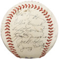 Autographs:Baseballs, 1942 New York Yankees Team Signed Baseball. Posting 101 victories in this final year before the Second World War would clai...