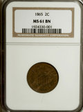 Two Cent Pieces: , 1865 2C MS61 Brown NGC. NGC Census: (17/701). PCGS Population(5/411). Mintage: 13,640,000. Numismedia Wsl. Price for NGC/P...