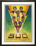 "Autographs:Others, 500 Home Run Club Poster Signed by Eleven. The classic 1986 Ron Lewis ""lighting bolt"" artwork picturing the Elite Eleven off..."