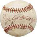 Autographs:Baseballs, Circa 1950 Cy Young Single Signed Baseball. Perhaps the most famous Young single in the hobby, this exact sphere is picture...