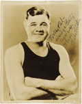 "Autographs:Photos, 1940's Babe Ruth Signed Photograph at Age Twenty-Three. A second youthful image from the ""Herby & Gerty"" collection, this s..."