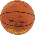 Basketball Collectibles:Balls, 1970's Basketball Superstars Multi-Signed Basketball with Maravich.One young hardcourt fan really knew how to pick them, s...