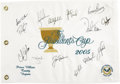Golf Collectibles:Autographs, 2005 The Presidents Cup Team Signed Flag with Woods, Nicklaus. TheUnited States yet again asserted its links dominance ove...