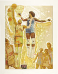 """Basketball Collectibles:Others, 1977 NBA Finals Lithograph by Mardon. Two of the greatest roundballstars of the era, Bill Walton and Julius """"Dr. J"""" Erving,..."""