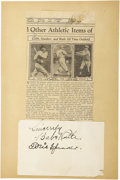 "Autographs:Others, 1930's Babe Ruth & Tris Speaker Signed Album Page. ""Ruth made agrave mistake when he gave up pitching,"" Tris Speaker once ..."