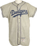 "Baseball Collectibles:Uniforms, 1958 Duke Snider Game Worn Jersey. ""We wept,"" the Hall of FameDodgers outfielder said of his teammates' reaction to their ..."