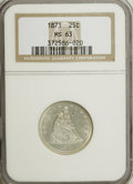 Seated Quarters, 1871 25C MS63 NGC....