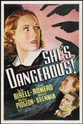 "Movie Posters:Crime, She's Dangerous! (Universal, 1937). One Sheet (27"" X 41"").Crime...."