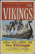 "Movie Posters:Action, The Vikings Lot (United Artists, 1958). One Sheet (27"" X 41"") andStills (5) (8"" X 10"") and (1) (7.25"" X 9.5""). Action.... (Total: 7Items)"