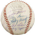 Autographs:Baseballs, 1957 American League All-Star Team Signed Baseball. The NationalLeague mounted an incredible comeback attempt in the botto...
