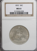 Seated Half Dollars, 1852 50C MS61 NGC....