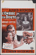 """Movie Posters:Hitchcock, Shadow of a Doubt (Universal, 1940s). Belgian (14"""" X 21"""") FirstPost-War Release. Hitchcock...."""