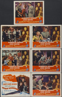 """Without Reservations (RKO, 1946). Title Lobby Card and Lobby Cards (6) (11"""" X 14""""). Comedy.... (Total: 7 Items..."""