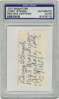 Autographs:Letters, Casey Stengel Cut Signature, PSA Authentic. Hall of Fame skipperfor the New York Mets and Yankees offers this cut signatur...