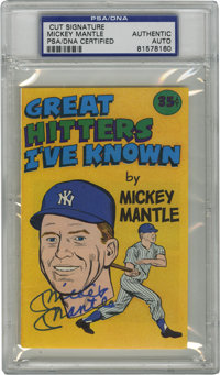 Mickey Mantle Signed Comic Cover, PSA Authentic. From the 1976 mini comic book issued by Carvel Ice Cream we offer the c...