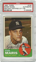 Autographs:Sports Cards, 1963 Topps Signed Roger Maris #120, PSA Authentic. Outstandingexample of super slugger Roger Maris' desirable signature re...