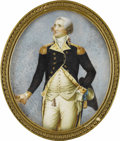 Fine Art - Painting, American:Antique  (Pre 1900), Walter Robertson (Irish/American, 1750-1802). . GEORGEWASHINGTON, Late 18th century. Framed watercolor on ivory. 6 x5 ...