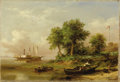Fine Art - Painting, American:Antique  (Pre 1900), Xanthus Smith (American, 1839-1929). . Palmettos at Port Royal . 1866. Oil on canvas . Signed lower right Xan...