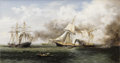 Military & Patriotic:Civil War, Xanthus Smith (American, 1839-1929). . Sinking of theAlabama . Circa 1865-1870. Oil on canvas. Signed on reverseXant...