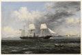 Fine Art - Painting, American:Antique  (Pre 1900), Xanthus Smith (American, 1839-1929). . United States Steamer Kearsage Leaving Boston Harbor . 1869. Oil on canva...