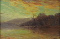 Texas:Early Texas Art - Impressionists, JULIAN ONDERDONK (1882-1922). Autumn Sunset, 1908. Oil onwood panel. 6in. x 9in.. Signed lower right. Signed, dated, an...