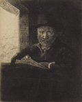 Prints:Old Master, REMBRANDT VAN RIJN (Dutch 1606-1669). Rembrandt Drawing At AWindow, 1648. Etching. 6-1/4 x 5-1/8 inches, plate (15.9 x ...