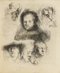 Prints:Old Master, REMBRANDT VAN RIJN (Dutch 1606-1669). Head Of Saskia AndOthers, 1636. Etching. 5-7/8 x 4-7/8 inches, plate (14.9 x12.4...
