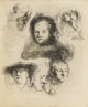 REMBRANDT VAN RIJN (Dutch 1606-1669) Head Of Saskia And Others, 1636 Etching 5-7/8 x 4-7/8 inches, plate (14.9 x 12.4