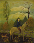 Fine Art - Painting, American:Modern  (1900 1949)  , LAWRENCE H. LEBDUSKA (American 1894-1966). The Rider And HisDog. Oil on canvasboard. 20 x 16 inches (50.8 x 40.6 cm). S...
