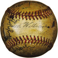 Autographs:Baseballs, 1940 Boston Red Sox Team Signed Baseball. In 1939, with the arrival of Ted Williams at the gates of Fenway, Major League Ba...