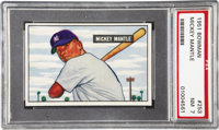 1951 Bowman Mickey Mantle Rookie #253 PSA NM 7. The fabulous portraiture that characterizes the early 1950's Bowman sets...