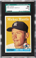 Baseball Cards:Singles (1950-1959), 1958 Topps Mickey Mantle #150 SGC 88 NM/MT 8. Here we offer a highgrade example of Mantle's bold 1958 Topps issue which fe...