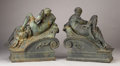 Bronze:European, A PAIR OF CAST IRON ALLEGORICAL FIGURES. Late 19th Century. 24inches (61.0 cm) high, each. ...