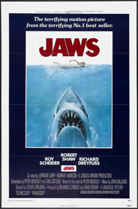 "Jaws (Universal, 1975). One Sheet (27"" X 41"") Tri-Folded. Horror"