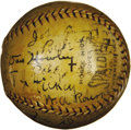 Autographs:Baseballs, 1934 Babe Ruth, Tris Speaker and More Signed Baseball. Our consignor reports that this baseball was passed down to him with...