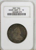 Early Half Dollars: , 1807 50C Draped Bust F12 NGC. NGC Census: (44/634). PCGS Population(28/763). Mintage: 301,076. Numismedia Wsl. Price for N...