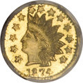 California Fractional Gold, 1874 50C Indian Octagonal 50 Cents, BG-958, High R.6, MS66 NGC....