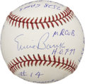 "Autographs:Baseballs, Ernie Banks Single Signed ""Stat"" Baseball. The man affectionatelyreferred to as ""Mr. Cub"" has signed the sweet spot of thi..."