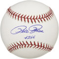 "Autographs:Baseballs, Pete Rose ""4256"" Single Signed Baseball. Elegantly applied sweetspot signature from the sport's all-time Hit King Pete Ros..."
