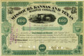 Transportation:Railroad, Jay Gould's Missouri, Kansas and Texas Railway Company StockCertificate 1881....
