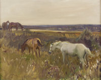 ALFRED JAMES MUNNINGS (British, 1878-1959) Horses Grazing, 1916 Oil on canvas 16 x 20 inches (40