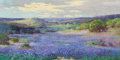 Fine Art - Painting, American:Modern  (1900 1949)  , ROBERT WOOD (American, 1889-1979). Bluebonnets. Oil oncanvas. 16 x 32 inches (40.6 x 81.3 cm). Signed lower left:Rob...