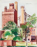 Fine Art - Painting, American:Modern  (1900 1949)  , WARREN A. NEWCOMBE (American, 1894-1960). Queensboro Bridge,1920. Watercolor on paper. 17-7/8 x 14 inches (45.4 x 35.6 ...