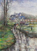 Fine Art - Painting, European:Contemporary   (1950 to present)  , HUGHES CLAUDE PISSARRO (French, b. 1935). La Moulin de laCouleuvre a Osny. Pastel on paper. 20 x 14-1/2 inches (50.8 x...