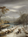 19th Century European:Landscape, ANNIBALE ANGELINI (Italian, 1810-1884). Nevicato nel InfernoVallese, 19th Century. Oil on canvas. 18 x 14-1/2 inches (4...