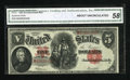 Fr. 91 $5 1907 Legal Tender CGA About Uncirculated 58