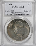 Eisenhower Dollars: , 1978-D $1 MS64 PCGS. PCGS Population (520/914). NGC Census: (205/2283). Mintage: 33,012,890. Numismedia Wsl. Price for NGC/...