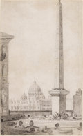 Fine Art - Painting, European:Antique  (Pre 1900), JEAN AUGUSTIN RENARD (French, 1744-1807). View of St. Peter'sfrom the Medici Garden. Pencil on laid paper. 13 x 7-7/8 i...
