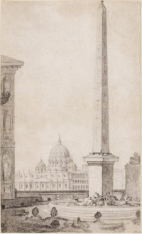 JEAN AUGUSTIN RENARD (French, 1744-1807) View of St. Peter's from the Medici garden Pencil on laid p